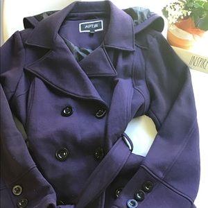Apt. 9 eggplant color stretch pea coat size large